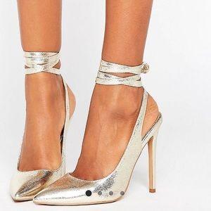 ASOS pointed toe gold stilettos